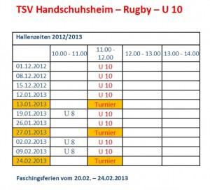 Hallentrainingszeiten U10