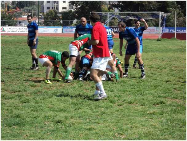 Testspiel: A-Mannschaft in blau (Trikots der Beirut Phoenicians), B-Mannschaft in grün / rot (Nationalmannschaftstrikots)