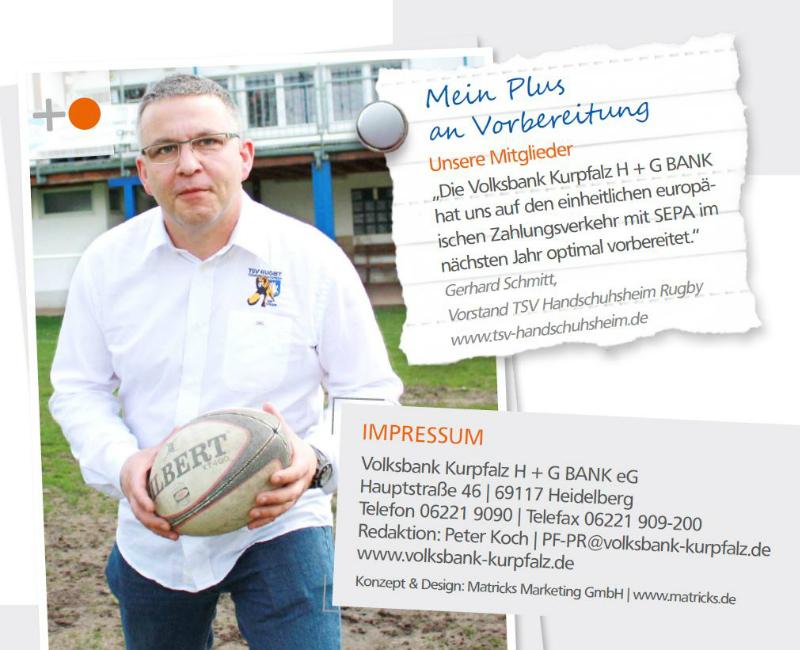 TSV im Kundenmagazin der Volksbank Kurpfalz H+G Bank